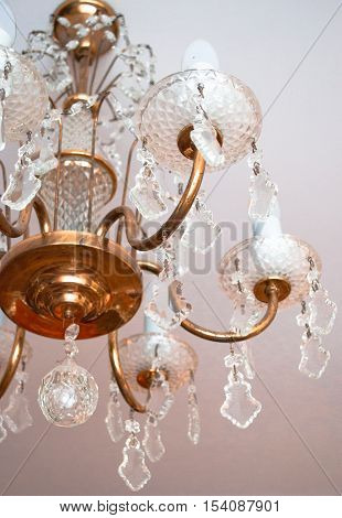 Luxury Glass Chandelier on white background close up