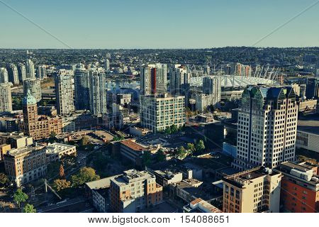 Vancouver rooftop view with urban architecture and city skyline