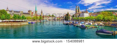 View of historic Zurich city center with famous Fraumunster and Grossmunster Church, Limmat river and Zurich lake, Switzerland