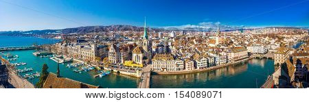 View Of Historic Zurich City Center With Famous Fraumunster Church, Limmat River And Zurich Lake Fro