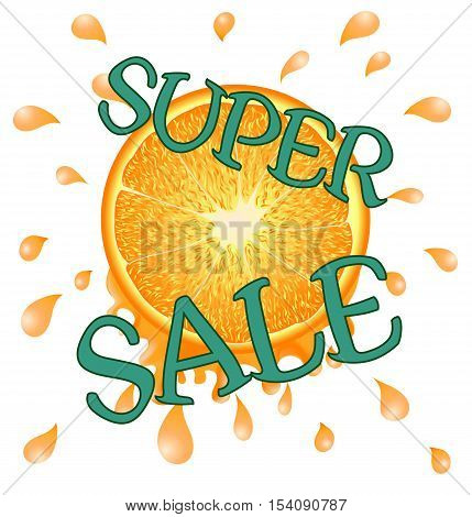 Orange Super Sale on White Background, Summer, Event, Green Text, Fresh Spray, Yellow, Citrous