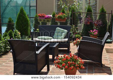 Garden Furniture In Backyard