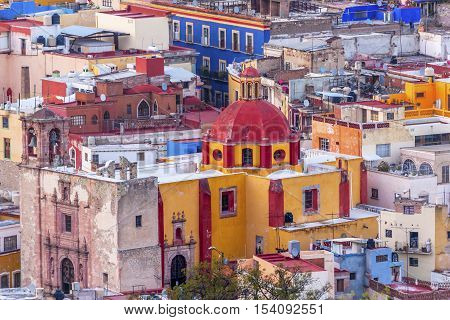 Colored Houses Iglesia de San Roque San Roque Church Guanajuato Mexico