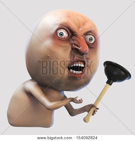 Internet meme. Man with plunger. Rage face 3d illustration isolated