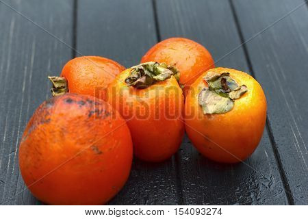 Persimmon, Fresh Ripe Persimmon On Wooden Table Fruits On Rustic Table, Tropical Fruit