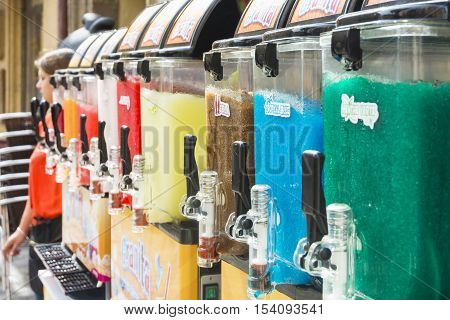 AIX EN PROVENCE,FRANCE-AUGUST 9,2016:A bar where they sell different types of granita to cool off from the summer heat in Aix en Provence in France during a sunny day