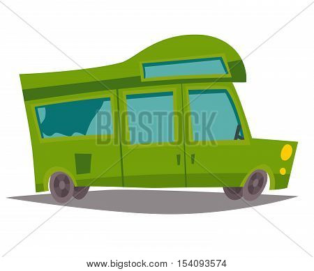 Motorhome vector. Trailer caravan mobil home for family trip. Bus for tourism summer holiday. Cartoon style illustration isolated on white background