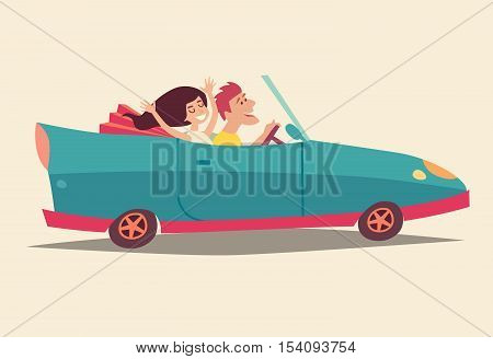 Сabriolet with happy people. Summer vacation cartoon character family. Travel by car.Newlyweds honeymoon holiday. Vector colorful illustration isolated