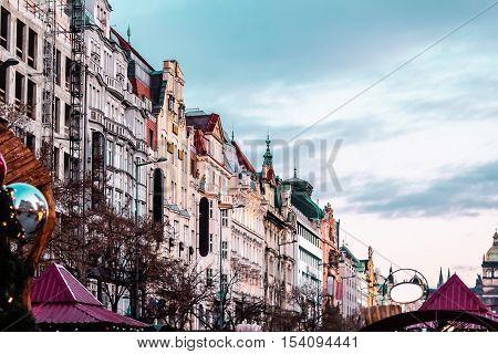 Wenceslas Square At Prague, Czech Republic