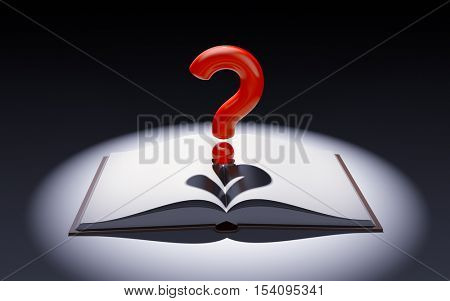 Open book with question mark in the spot of light. 3d illustration