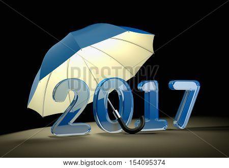 Blue glass number 2017 under umbrella. New year mataphor. 3d illustration