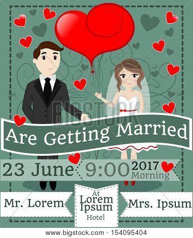 Wedding Celebration, Getting Married, Invitation, Greeting, EPS 10