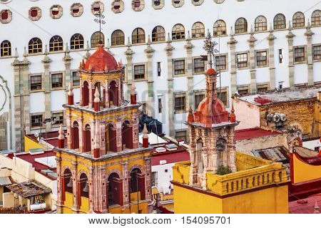 Our Lady of Guanajuato Church Towers Spires University Guanajuato Mexico From Le Pipila Overlook