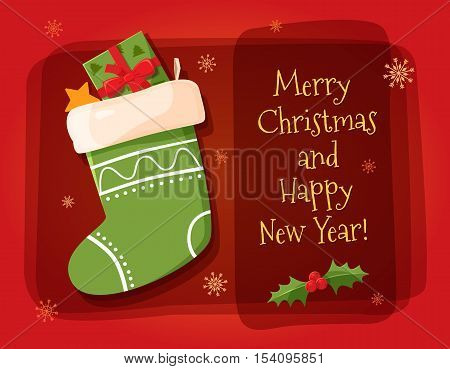 Merry christmas design elements. Bright cartoon background with holiday symbols: Christmas sock and the inscriptions Merry Christmas and Happy New Year! Holiday vector illustration.