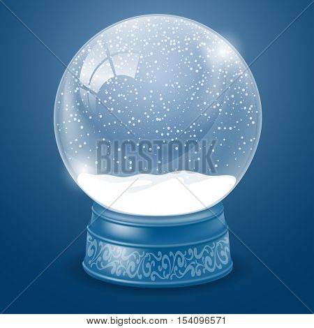 Empty Christmas Snow Globe Template. Magic Ball with Snow and Flying Snowflakes for your Christmas and New Year Designs. Easy inserting your own object. Realistic Vector Stock Illustration.