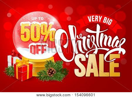 Christmas Sale Design Template with Calligraphy Inscription Christmas Sale and Percents in Snow Globe. Easy to edit and Customize. Vector Stock Illustration.