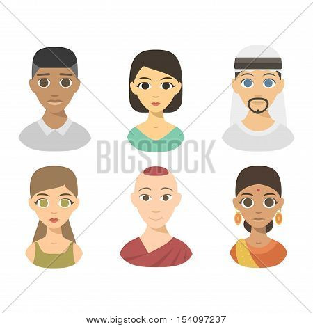 Group people nationality races at work teamwork avatars. Flat design characters people nationality race. Set diverse avatars people nationality race. Different nationalities, clothes and hair styles.