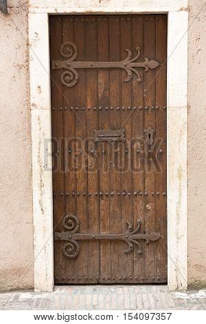 Close up of  Antique door retro style processed
