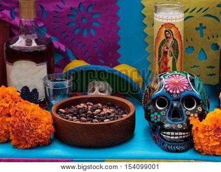 Los Angeles, CA, USA - October 29, 2016: Skull at Dia de los Muertos, Day of the dead, in Los Angeles. poster