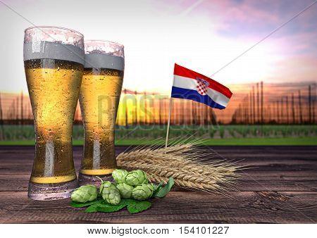 concept of beer consumption in Croatia - 3D render