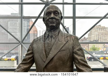 New York City - October 22 2016: Jacob K. Javits bronze statue in Jacob Javits Convention Center in New York City.
