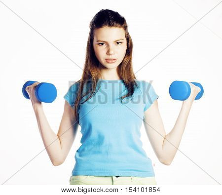 young pretty slim woman with dumbbell isolated cheerful smiling, real sport girl next door, lifestyle people concept close up
