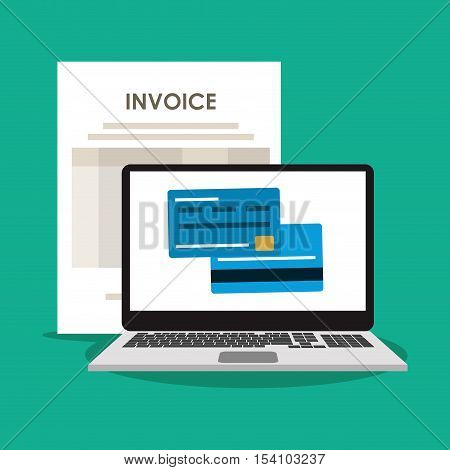 Invoice document credit card and laptop icon. Business finanace payment and tax theme. Colorful design. Vector illustration