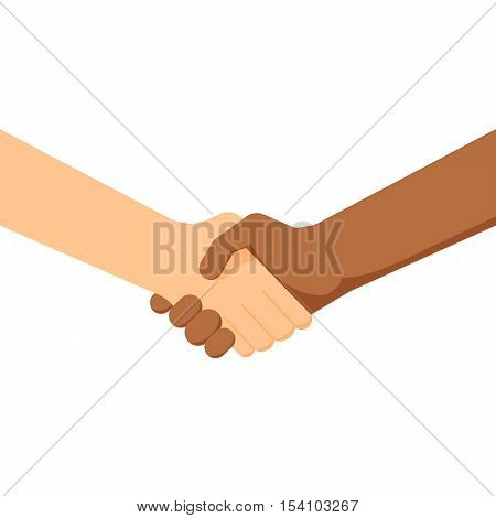 two people shaking hands. White and black people. Conclusion of the contract. Partnership between different nationalities. Sign of friendship and respect