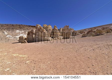 Peculiar rock formations in the Atacama desert.