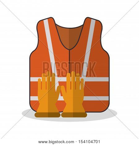 Jacket and gloves icon. Industrial safety security and protection theme. Colorful design. Vector illustration