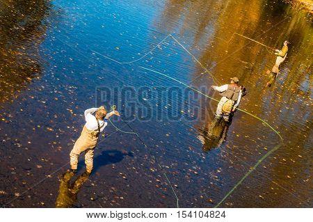 Livingston Manor NY USA - October 15 2016. Fly fishing lesson on Willowemoc Creek