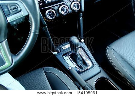 Top view of gear shift knob in car interior free royalty stock photo