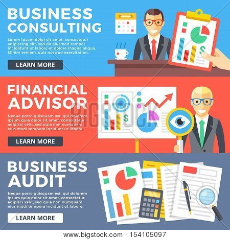Business consulting, financial advisor, business audit flat illustration concepts set. Flat design graphic for web sites, web banners, printed materials, infographics. Modern vector illustrations