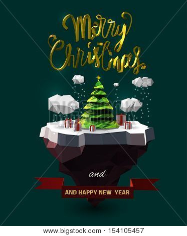 Vector Christmas design with floating island, clouds, pine tree, gift box, golden 3d