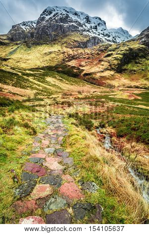 Mountain footpath in Glencoe Scotland at winter