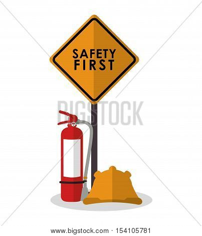 Extinguisher and helmet icon. Industrial safety security and protection theme. Colorful design. Vector illustration