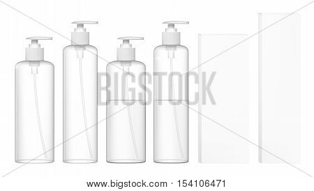 Transparent Cosmetic Plastic Bottles With Dispenser Pump. Liquid Container For Gel Lotion Cream Shampoo. EPS10 Vector