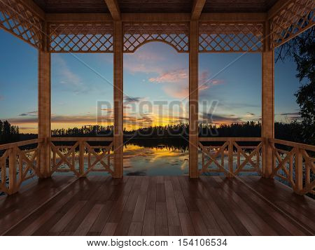 3d render of a wooden terrace with a view of the forest lake, the Karelian Isthmus, Russia