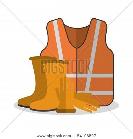 Jacket and boots icon. Industrial safety security and protection theme. Colorful design. Vector illustration