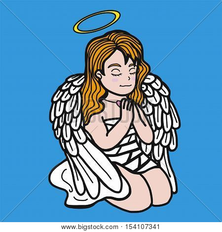 Angel prayer cute and sweet cartoon illustration