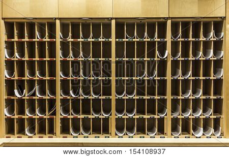 storage rack in a health resort with plans for medicamentation per room