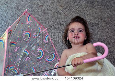 Little Girl Hold Umbrella