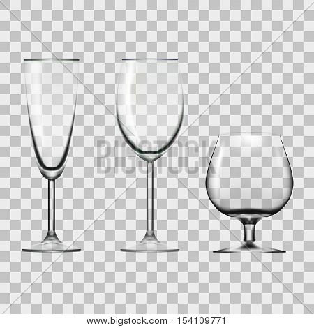 Transparent Empty Wine, Champagne And Cognac Glass Isolated On White. EPS10 Vector