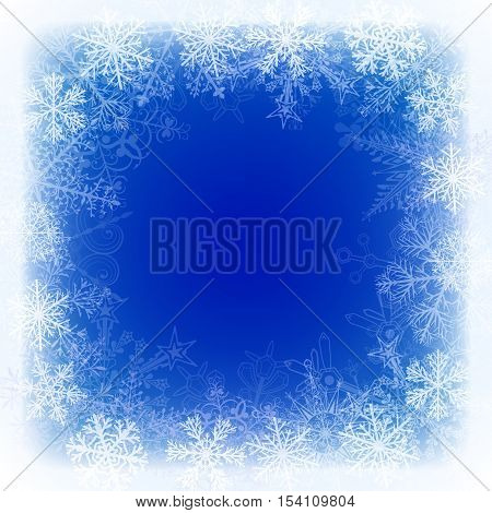 Christmas Background With Frame Of Snowflakes