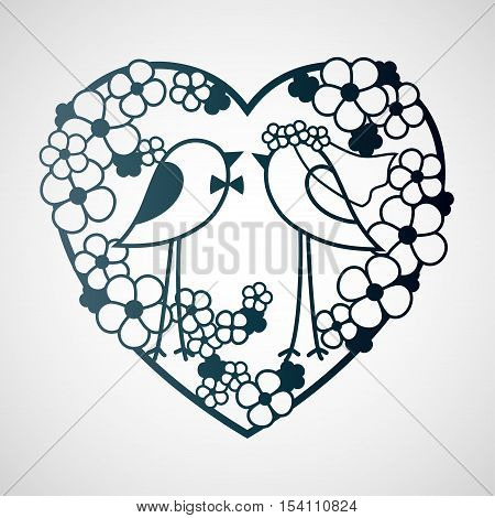 Wedding two birds among the flowers. Openwork heart wreath of flowers. Laser cutting template for decoration cards interior decorative elements.