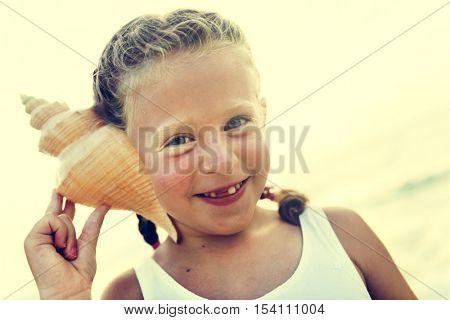 Girl Adolescence Child Listening Fun Cute Beach Concept