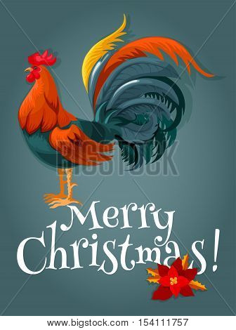 Christmas and New Year card with red rooster. New Year animal symbol with fire cock and christmas poinsettia flower. Winter holiday themes design
