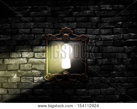Retro metal lock on a brick wall with light shining through