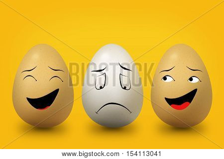 two eggs deride an egg with face