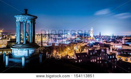 Night view from Calton Hill to Edinburgh